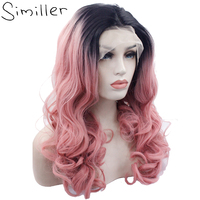 Similler Black Root Ombre Pink Long Curly Glueless Heat Resistant Hair Hand Tied Synthetic Lace Front