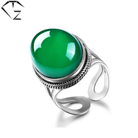 GZ Vintage Natural Chrysoprase S925 Thai Silver Ring 100 Pure 925 Sterling Silver Rings For Women