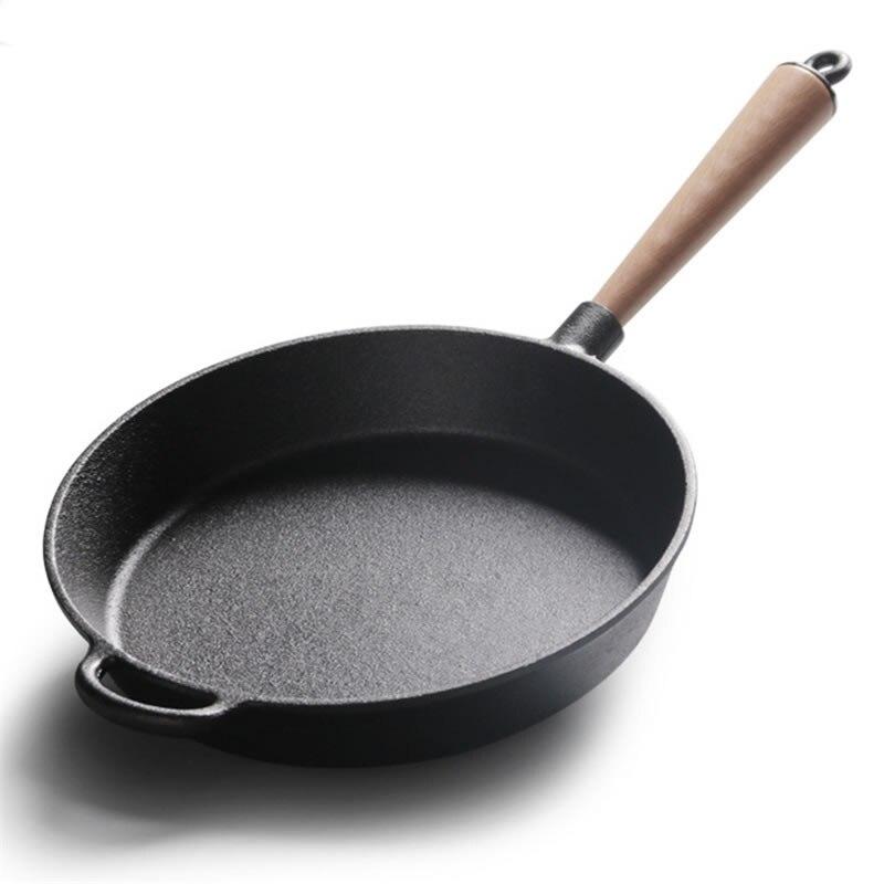 Upspirit poêle antiadhésive longue poignée en fonte poêle Grill poêle 22 cm/24 cm/26 cm casseroles Pealla frites Steak cuisinière à gaz utilisation-in Casseroles from Maison & Animalerie    3