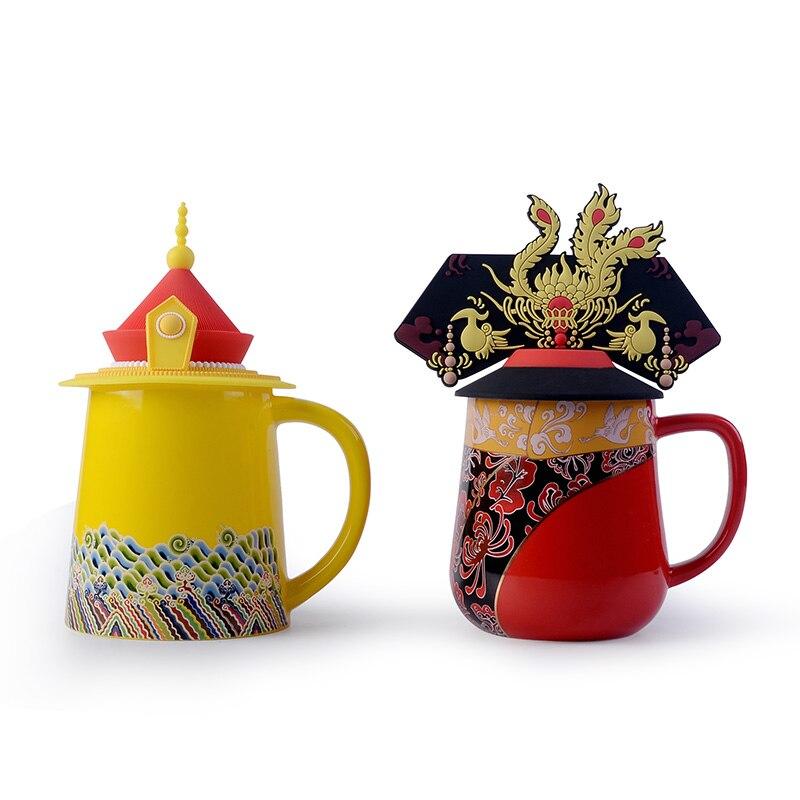 1 PC Dragon Phoenix tasse en céramique couleur émail porcelaine tasse empereur impératrice café thé ensemble cadeau