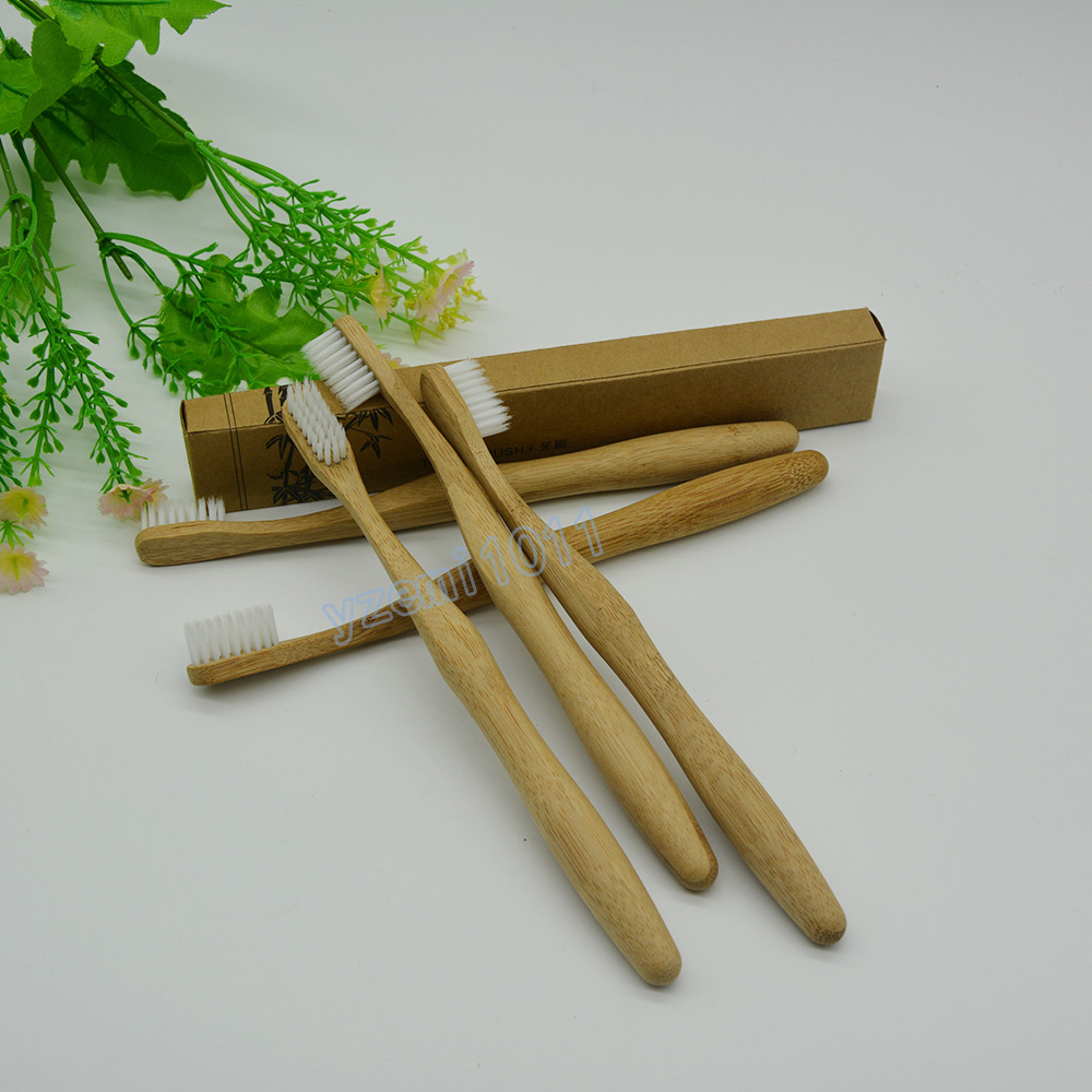 Emith bamboo toothbrush Store Free shipping 10 pcs/lot Environmentally  bamboo toothbrush White sharpen brush wire  wooden handle