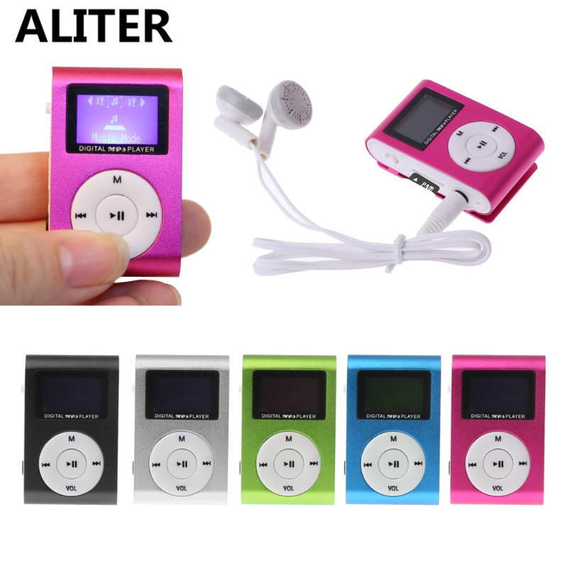ALITER Small MP3 Portable USB Metal Clip LCD Screen Music Player with Earphone portable media player