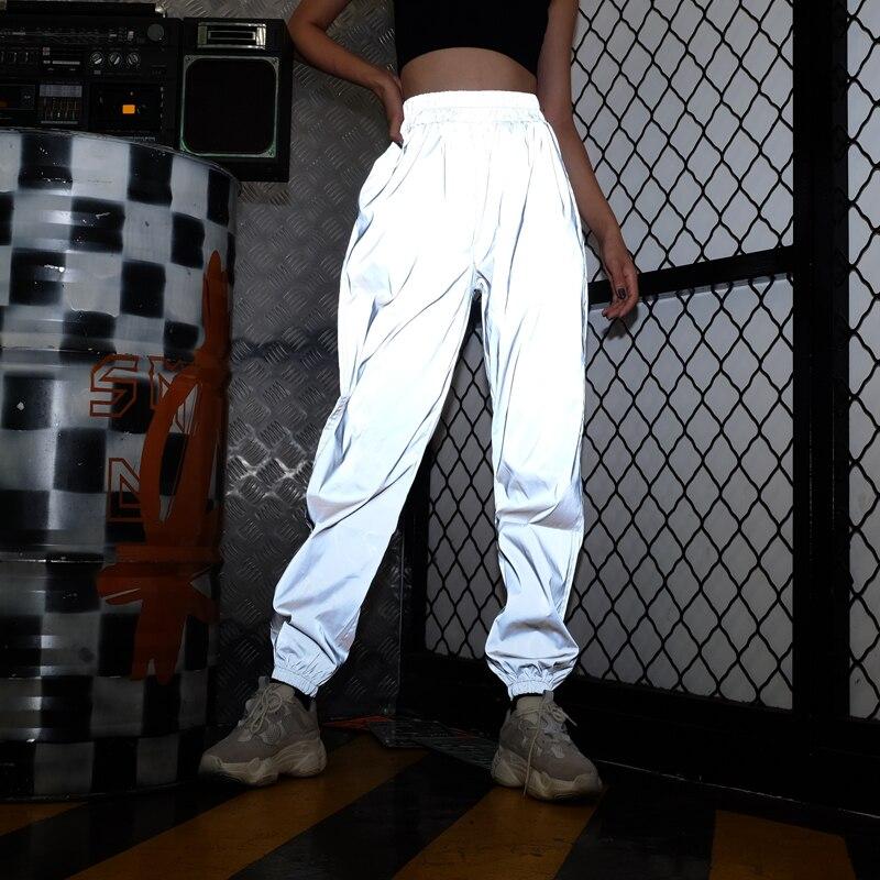 Weekeep Women High Waist Hip Hop Reflective Pants Streetwear Night Shine Loose Long Pants Women 2018 Spring Autumn Pencil Pants