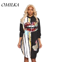 OMILKA 2017 Autumn Winter Women Long Sleeve Cartoon Sequin Shirt Dress Casual Harajuku Hip Hop Shiny