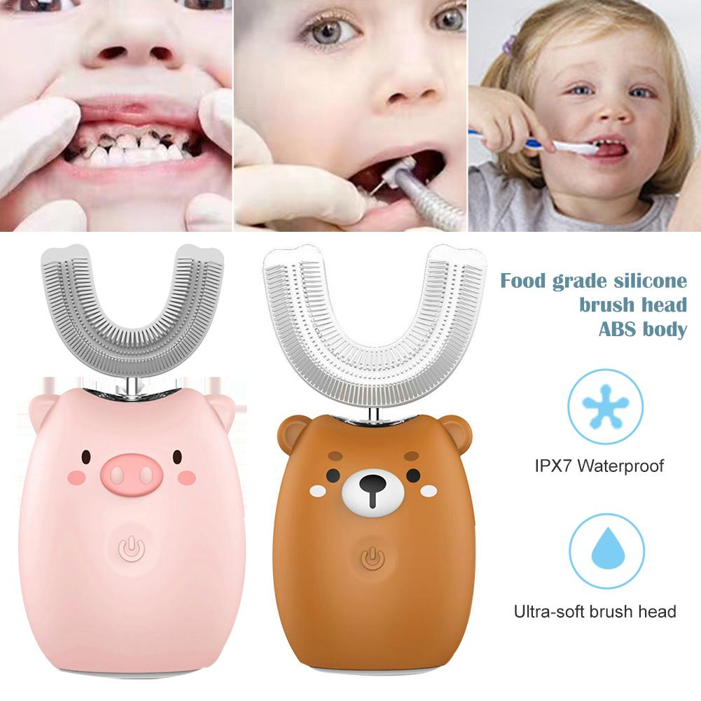 Children's Electric Toothbrush Cartoon Blu-ray Whitening Teeth Brush Waterproof Sound Wave Automatic U-shaped Toothbrush