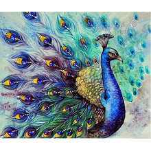 Diy diamond embroidery set full square drill diamond painting 5d picture of stones wall decor peacock animals XU(China)
