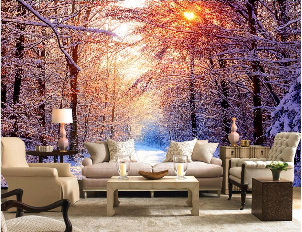 Custom photo 3d wallpaper Non-woven mural Sun snow tree road picture decoration painting 3d wall murals wallpaper for walls 3 d 3d wallpaper custom mural non woven wall sticker black and white wood road snow tv setting wall painting photo wallpaper for 3d