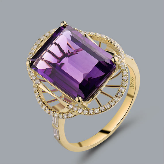 Natural Amethyst Ring Emerald Cut 10x14mm Solid 14Kt Yellow Gold