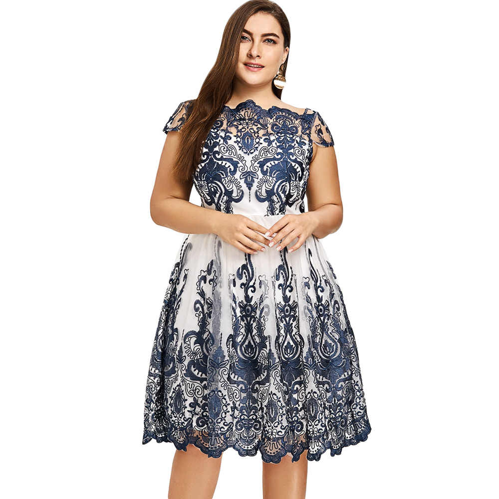 45a0cdaa577 ... Gamiss Woman Plus Size Lace Scalloped Tulle Dress Boat Neck Short  Sleeves Dresses Robe Female Clothes ...