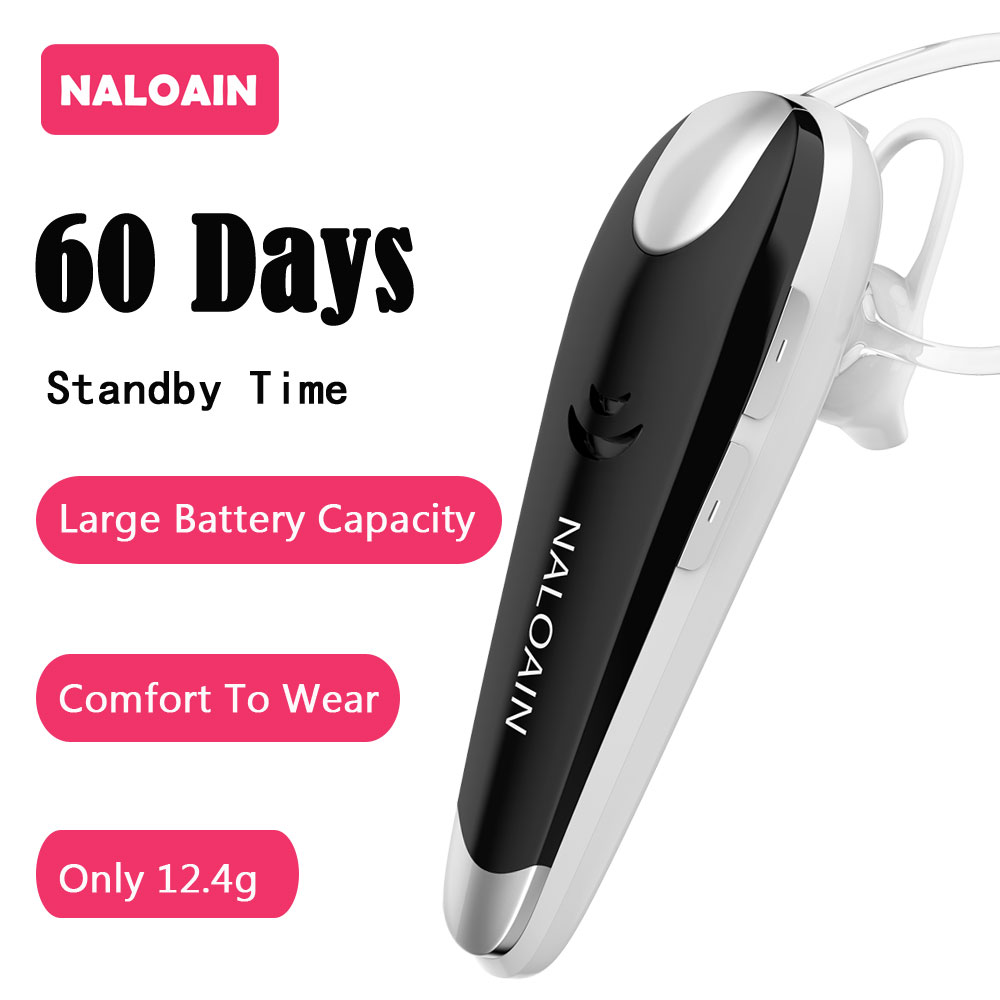 NALOAIN 60 Days Standby Hands Free Bluetooth V4.1 Earphones Wireless Headset Headphones With Microphone In Car For Mobile Phones high quality wireless headphones bluetooth headset with microphone nfc hifi music wireless earphones for phone hands free
