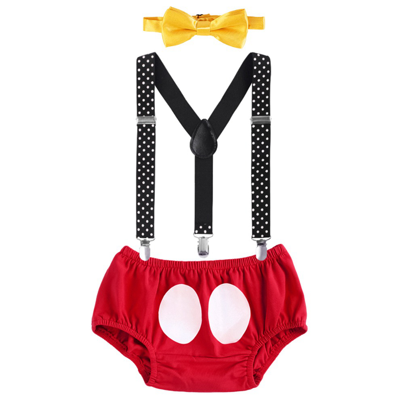 Kids Boys Mickey Mouse First Birthday Cake Smash Set Outfit Toddler 3PCS Clothes