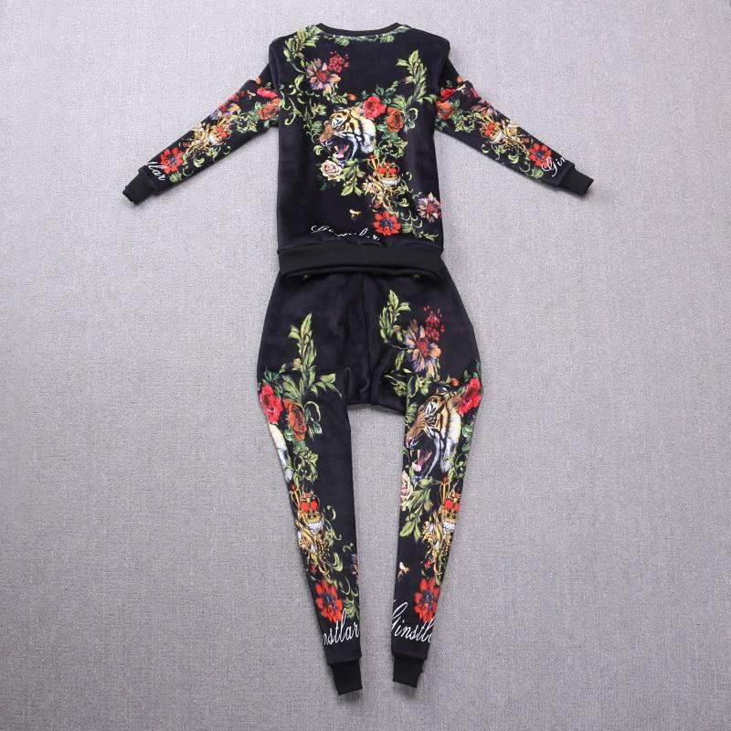 Épaississement Automne Imprimer Casual Animaux Deux Costume Polaire Et Hiver Floral Suit pièce Tiger Nouvelle Velours Ensemble Mode ZwrZqU