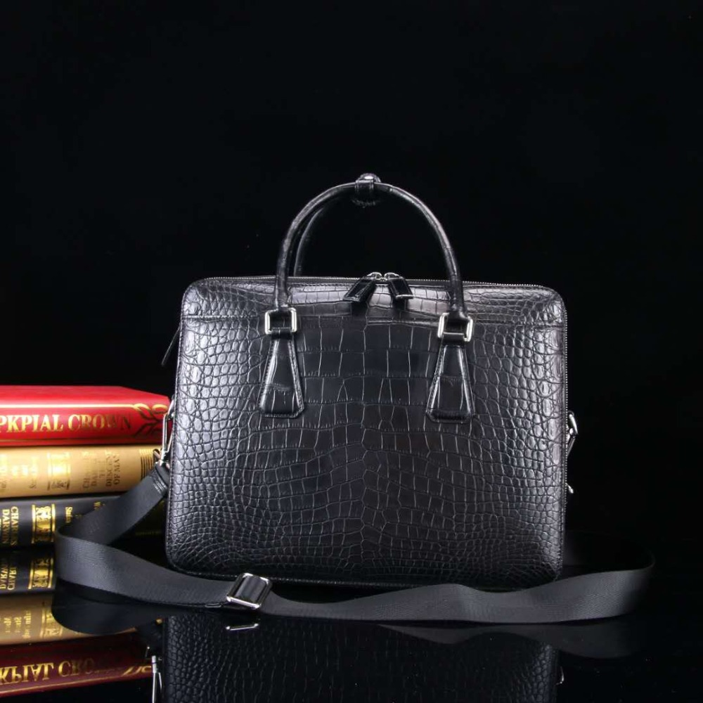 Luxury Quality Men's Genuine/Real Crocodile Belly Skin Men Business Briefcase Bag Fashion With Cow Leather Lining Skin Men Bag