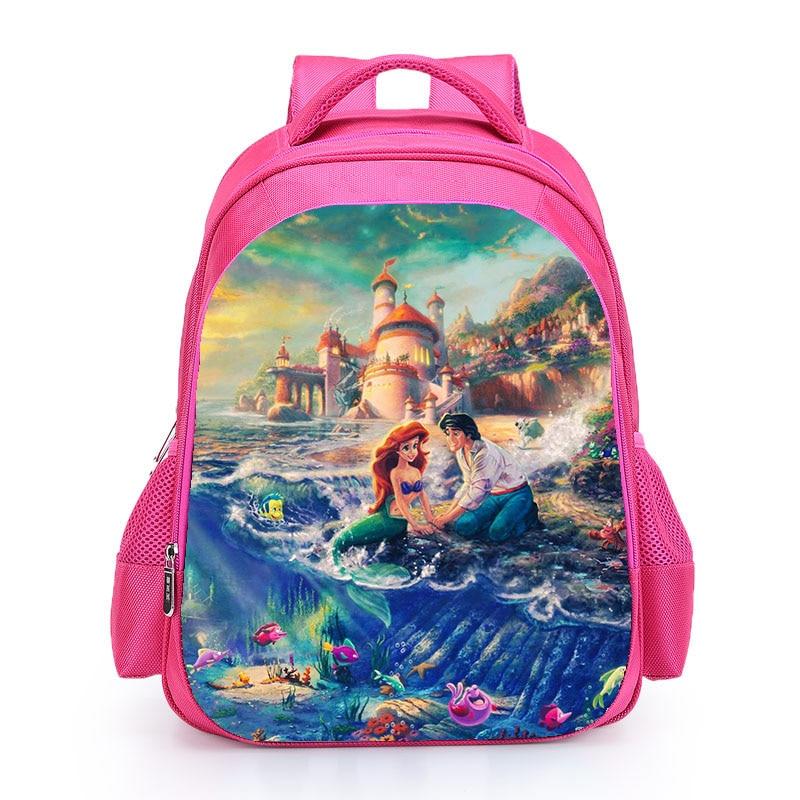 The Little Mermard Ariel Backpack 2018 Pink Princess Kids School Bag Fairy Tale Schoolbag Book Bags for Teen Girls mochila Bolsa (8)