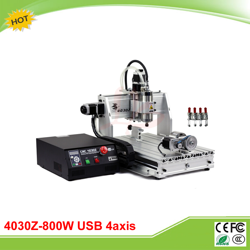 New 4030Z(800W/USB) 4 axis mini CNC engraving machine with USB port and rotation axis free shipping 800w 4 axis cnc engraver engraving machine cnc 4030z with usb port 3040