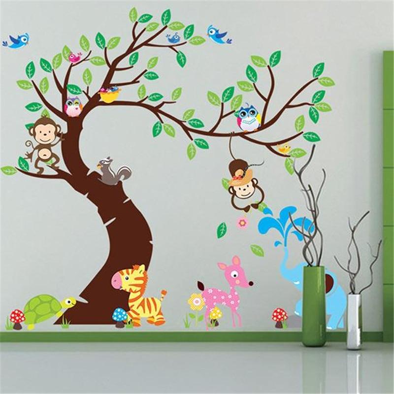 ⓪الكرتون الحيوان شجرة خلفيات 3d خمر الطفل الفينيل الجدار ملصق