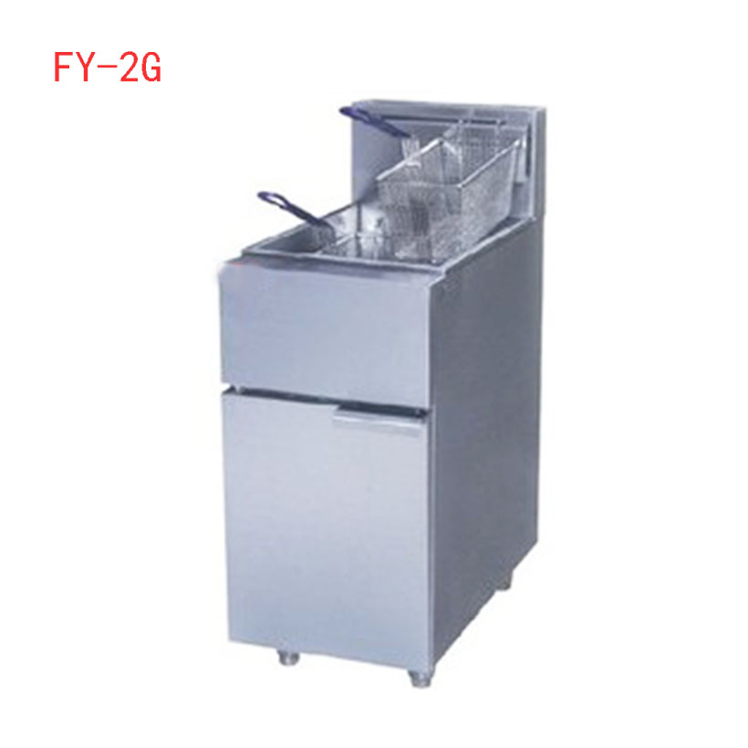 1PC FY-2G commercial Vertical GAS type fryer deep fryer fried furnace frying pan Two tube blast furnace gas