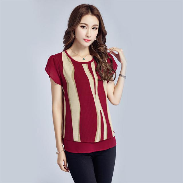 Womens Blouses And Tops 2017 Summer Short Sleeve Striped Chiffon Blouse Shirt 5XL Plus Size Women Clothing Casua Blusas Feminina