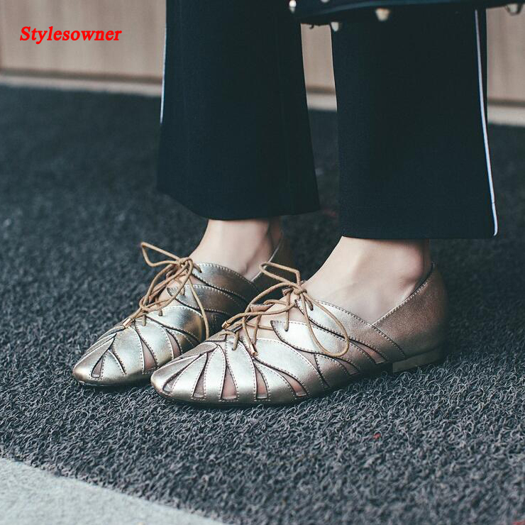 ФОТО Stylesowner Leather Latest Coming Women Flat Lacing Shoes Leisure Style Comfortable Hollow Out Round Toe Shoe Female