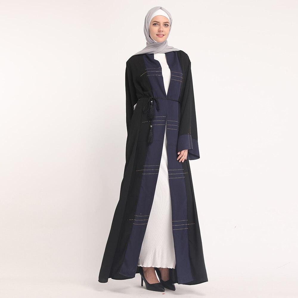 Arab Women Attire Clothing Muslim Chiffon Long Kaftan Islamic Cardigan Abaya without Scarf