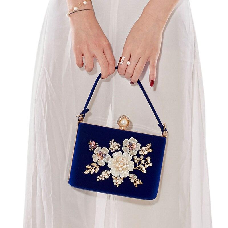 Dames Pochette En Velours Perle Cristal Sacs de Soirée Femmes Velours Fête Mariage Sac À Main De Mariée De Luxe Mini Jour Sac À Main bolsos