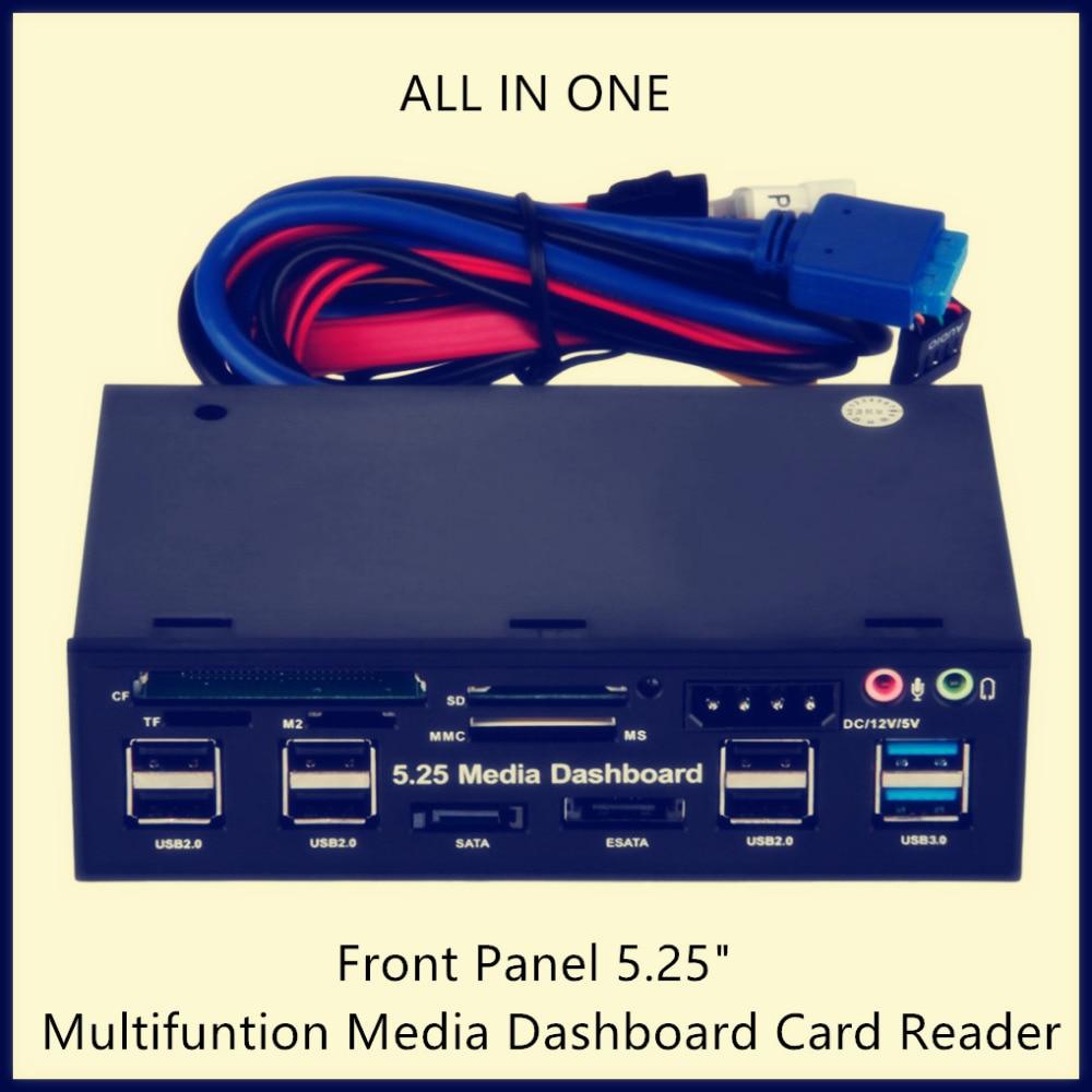 High Speed USB Front Panel 5 25 Multifuntion Media Dashboard Card Reader USB 2 0 USB