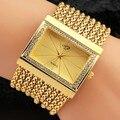 Novas das Mulheres da Moda Relógio de Aço Inoxidável Relógio de Pulso Analógico Relógios De Quartzo Quadrado Relógio Pulseira Cadeias Strass Presentes de Ouro