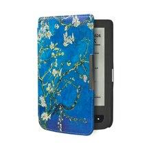 Impreso folio cuero de LA PU caso de la cubierta del libro para Pocketbook básico touch lux 614/624/626 + free regalo