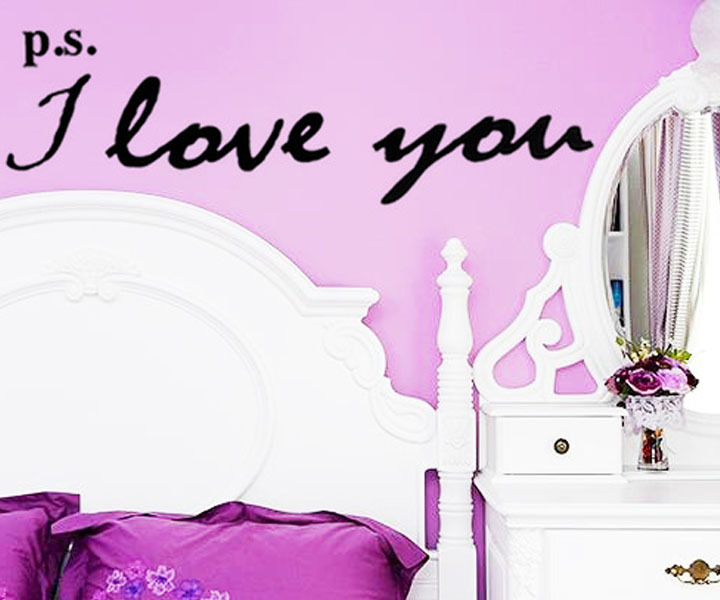 DCTOP PS I Love You Quote Sweet talk Art Wall Sticker Vinyl Removable DIY Home Decor Waterproof Baby Bedoom Couple room Decals