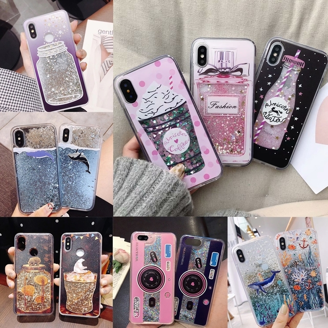 get cheap dee20 83db7 US $1.59 20% OFF|Liquid Water Case Unicorn Whale Camera Dynamic Quicksand  Glitter Bling Soft Silicone Cover for iPhone X 7 8 Plus 6 6S XS Max XR-in  ...