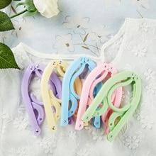 Travel Portable Hangers Magic foldable Drying Rack Plastic Household Non-slip Cute candy color hanger