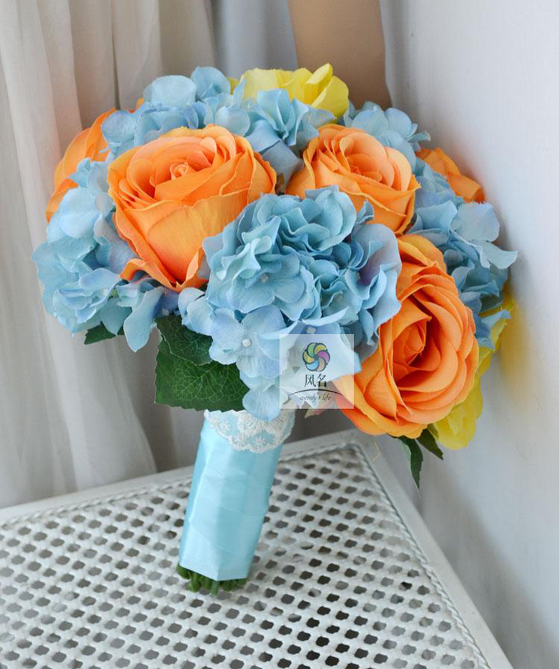 Blue Hydrangea Wedding Flowers: Handmade Bridal Bridesmaid Wedding Bouquet Artificial