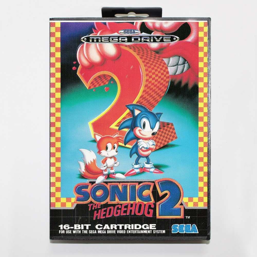 Sonic 2  16 bit SEGA MD Game Card With Retail Box For Sega Mega Drive For Genesis mickey mouse castle of illusion