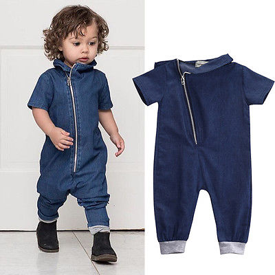 2016 Hot Denim Newborn Toddler Baby Boys Romper Jumpsuit Outfits Clothes 0-3Y