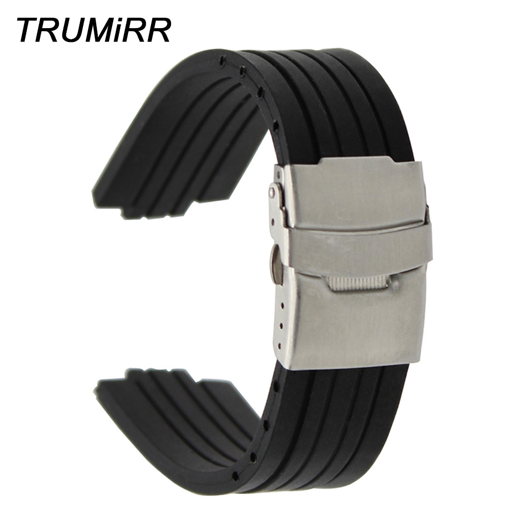 23mm 24mm x 9mm 10mm 11mm Convex Watch Band Silicone Rubber Watchband Stainless Steel Safety Buckle Strap Wrist Belt Bracelet silicone rubber watch band 10mm x 24mm 12mm x 22mm convex mouth watchband safety clasp strap wrist loop belt bracelet black
