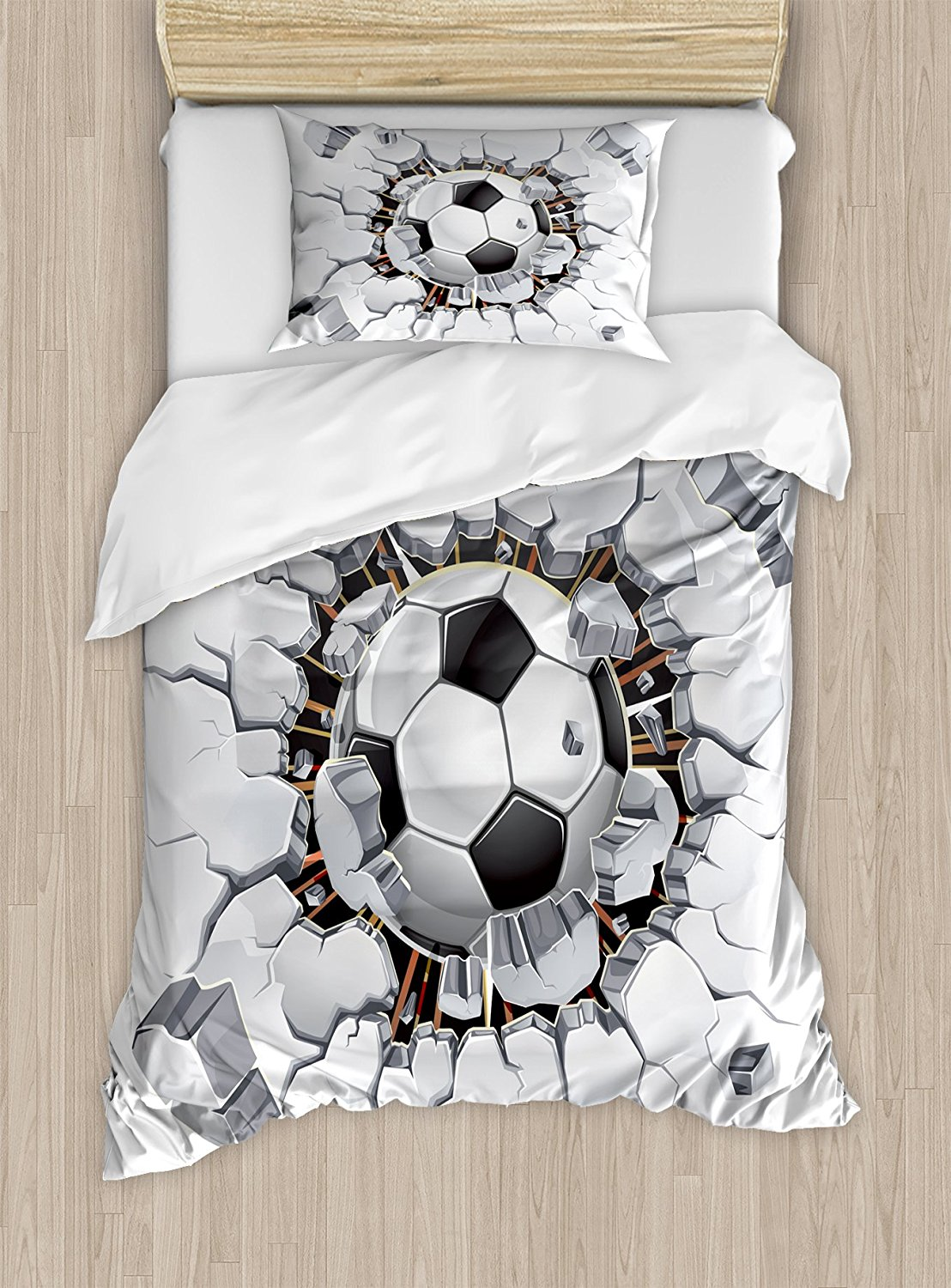 Sports Decor Duvet Cover Set Soccer Ball and Old Plaster Wall Damage Destruction Punching Illustration4 Piece Bedding Set