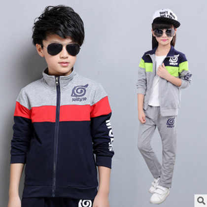 Retail children's sports suit boys and girls 3-12 years old children big virgin suit uniforms Spring clothes Jacket + Trousers