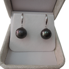 FREE SHIPPING 100% nature freshwater pearl earring,925 silver hook,AAA black,purple Pearl,11-13 big perfect round pearl earring цена и фото