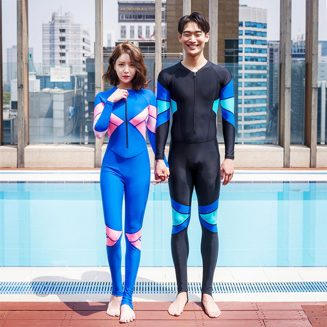 Hot Couples Wet Suits Zipper Swimming Clothes For Diving 2mm Neoprene Male  Female Black Royal Blue 168031e8c