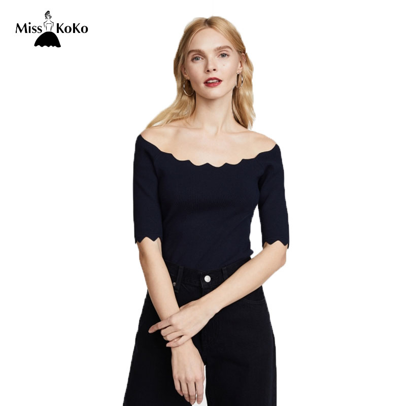 Misskoko 2018 Women Deep Blue Elegant Sweaters Slash Neck