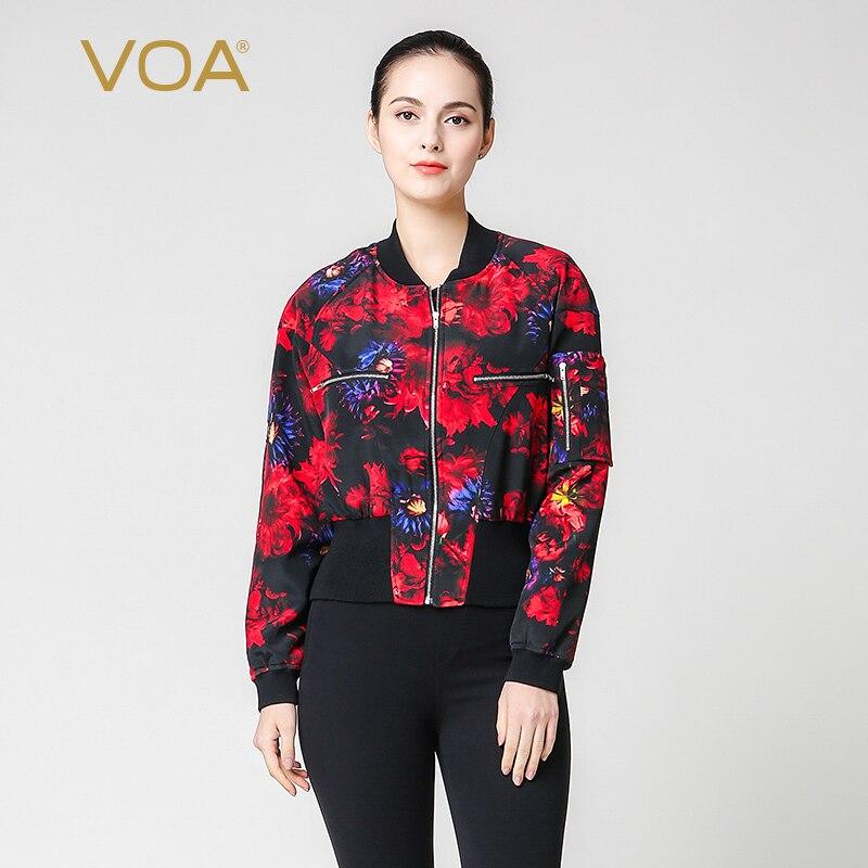 VOA 2017 Autumn Winter New Classic Red Silk Zipper Short Jacket Plus Size Long Sleeve Printed Women's Slim Heavy Coat M5137 voa 2017 autumn winter new fashion women slim short jacket white brief casual long sleeve print silk jacquard coat m6137