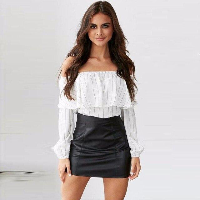 c03d3398e30 Women Off Shoulder Ruffles Tops Slash Neck Long Sleeve Shirt Casual Loose Blouse  Camisa Feminina European style jd4