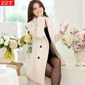 2017 Primavera e No outono e inverno plus size Ms trespassado casaco de lã fino casaco de lã feminino médio longo jacket vestidos
