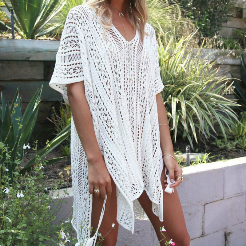 SAKKUS 2017 Sexy Beach Cover Up Crochet White Swimwear Dress Tunic Ladies Bathing Suit Cover Ups Tunic Saida De Praia Pareo striped tunic dress beach cover up with sleeves