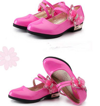 Red black pink Childrens leather shoes Girl Low heeled bows Rhinestone Princess dancing Spring Autumn Wedding Party Shoes
