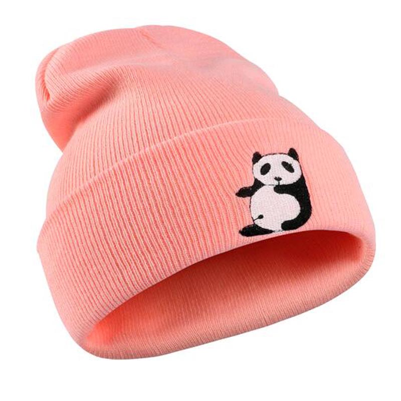 2017 New Fashion Cartoon Panda hat Autumn Winter Hat Men Unisex Knitted Skullies Beanies Embroidery Animal Hats Women Boys Girls fine three dimensional five star embroidery hat for women girls men boys knitted hats female autumn winter beanies skullies caps