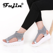 Fujin Brand 2019 Summer Shoes For Women Platform Sandals With High Heel Lady Leather Footwear Knitting Slip On