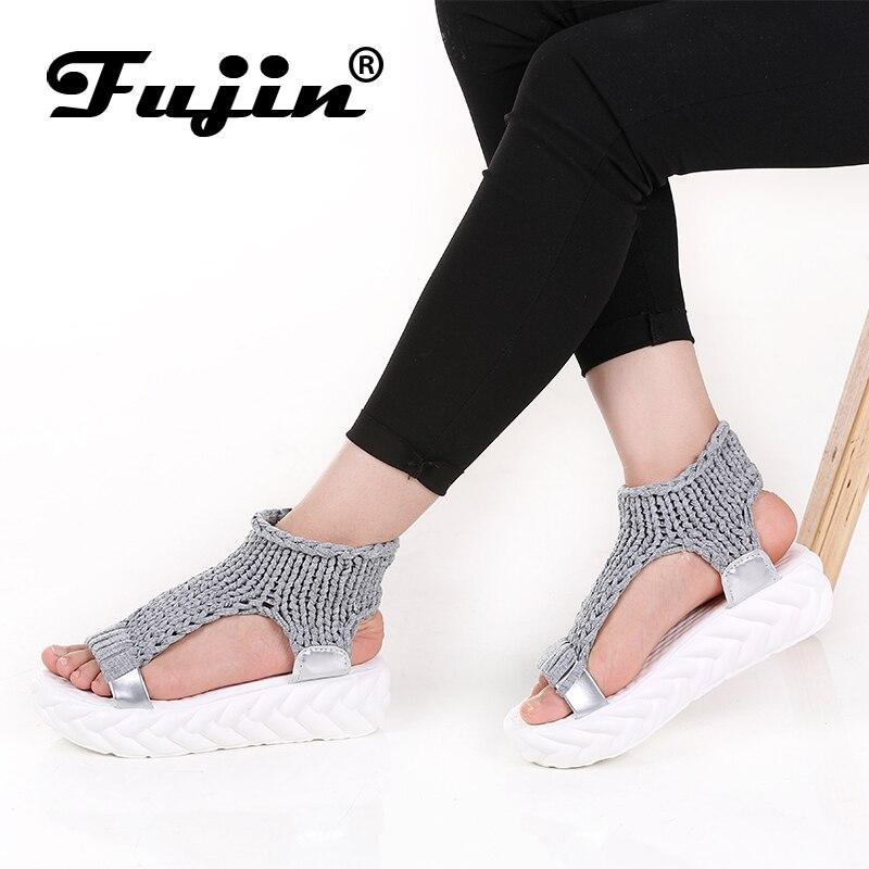 Fujin Marque 2018 Chaussures Pour Femmes Plate-Forme D'été Sandales À Talon Haut Dame En Cuir Chaussures Chaussures À Tricoter Glissement Sur des Sandales