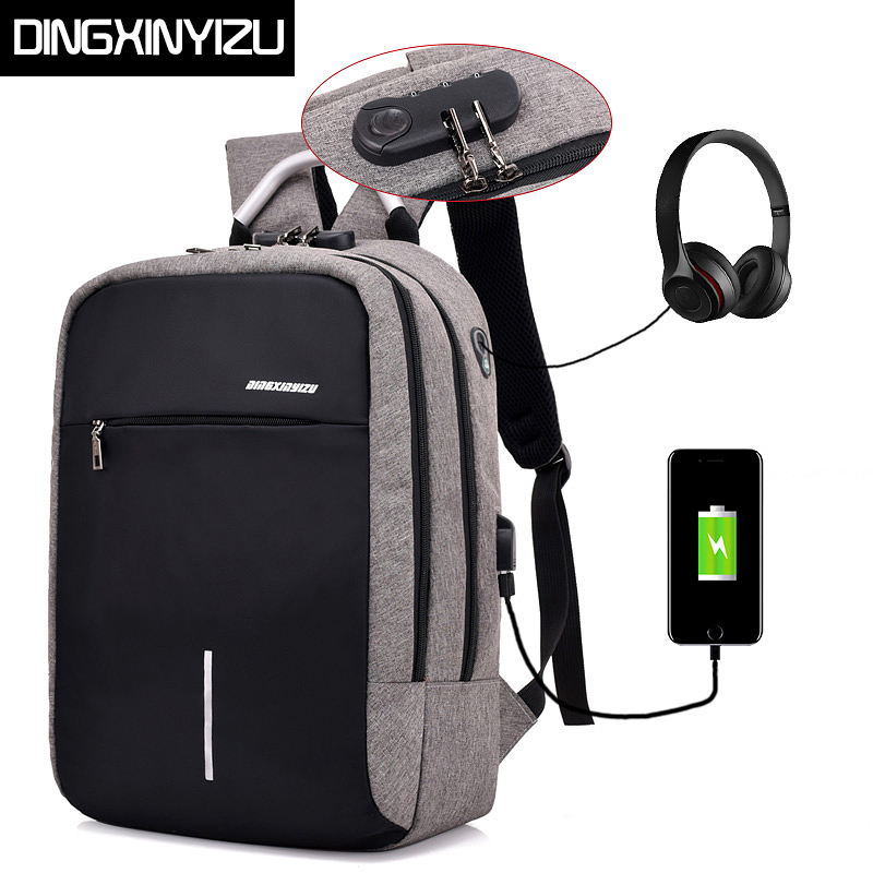 DINGXINYIZU USB Charge Anti-Theft Laptop Men Backpacks Waterproof Women School Bags Travel Daypack Unisex Rucksack Male Mochila sopamey usb charge men anti theft travel backpack 16 inch laptop backpacks for male waterproof school backpacks bags wholesale
