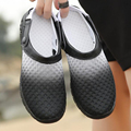 2016 mens del verano zuecos de goma peso ligero transpirable sandalias cómodas zapatillas de playa mulas negro orange sl021fja1